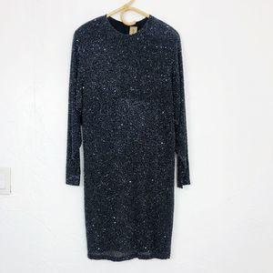 Naeem Khan Black Sequins Beaded Mid Length Dress